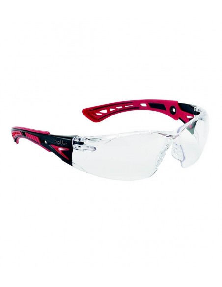 FIPCENTER-Lunettes protection RUSH+ Bollé safety Rouge /Noire, verre incolore-RUSHPPSI