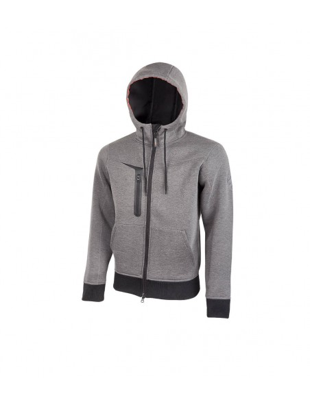 FIPCENTER-Gilet sweat de travail Jersey Zippé avec capuche Upower TASTY Gris PE119GM-PE119GM